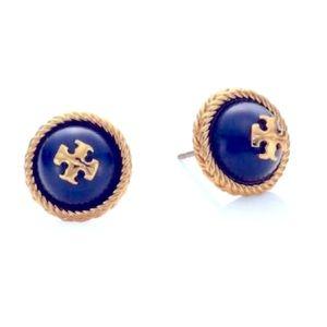 Tory Burch blue & gold rope stud earrings